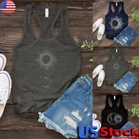 Women Moon Sun Print Sleeveless Vest Tank Top Ladies Casual Loose Racer Back US