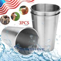3x Stainless Steel Cup Large 16oz Pint Tumbler Premium Metal Drinking Glasses