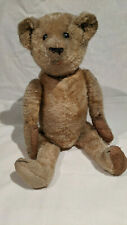 1910-1919 Teddy Bear, shoebutton eyes, excelsior stuffing, tan color, 17 inches