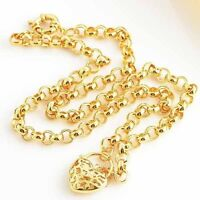 """22"""" Heart Pendant long Necklace Chain Yellow Gold Filled Mens big necklace"""