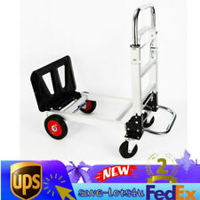 2 in 1 Aluminum Four Wheel Hand Cart Truck Foldable Regular Dolly 200kg Capacity
