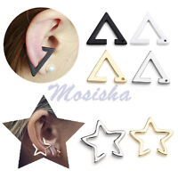 Punk Hollow Geometric Simple Star Triangle Ear Clip Cuff Stud Cartilage Earring-