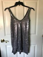 Express Womans Gray Sleeveless Shirt dress With Sequins Size: Small