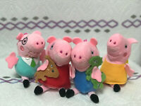 "4 Pcs Peppa Pig Family Plush Doll Stuffed Toy DADDY MOMMY 4"" PEPPA GEORGE Toys"