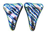 """DICHROIC Post EARRINGS 1/2"""" 12mm Pink Teal Green Ripples Triangles GLASS STUDS"""