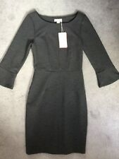 MONSOON ARTISAN GREY STRAIGHT RIBBED DRESS - WIDE NECK, 3/4 BELL SLEEVES-8 BNWT