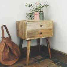 Scandinavian Nordic Solid Wood 2 Drawer Bedside Table With Mid Century Legs