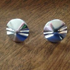 Vintage Jewelry Earrings Accessocraft  N.Y.C. Silver Tone Button Clip Screw Back