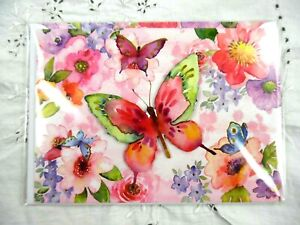 PUNCH STUDIO~Gold Foil~3D~BUTTERFLY WATERCOLOR GARDEN~Greeting Card & Envelope