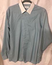 L/XL Peter England Light Blue White Collar Button Mens Long Sleeve Shirt 42 cm