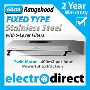BRILCON 60cm Fixed Rangehood Stainless Steel Range Hood 600mm Built-in with LED