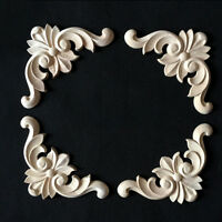 Wood Carved Corner Onlay Frame Applique Furniture Decal Home DIY Decor Unpainted