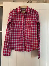 Hollister Shirt Top S Small Womens Ladies Pink Check Long Sleeve Plaid 6 8 10