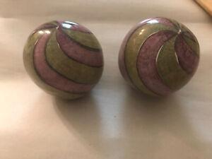Mackenzie Childs ceramic cabinet drawer handle PULL Swirl Purple & Green Lot2