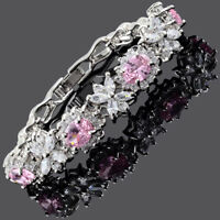 Fashion Oval Cut Pink Sapphire White Gold Plated Tennis Bracelet