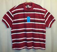 Noiz Polo Shirt Men's 5XL Burgundy / Striped Short Sleeve - Unworn w/ Tag