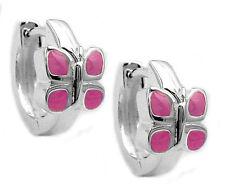925 ECHT SILBER *** Kinder Creolen Ohrringe Schmetterling pink rosa
