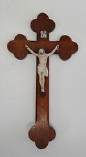 Antikes Inri Jesus Kreuz Holzkreuz Jesuskreuz Kruzifix Buisquit Porzellan ~1900