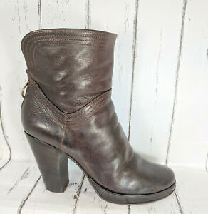 Fiorentini+Baker Brown Leather Ankle Boots Women US 9.5 EU 39.5 Made In Italy