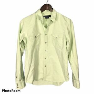 Ralph Lauren Slim Fit Boy's Western Shirt Size 12 Solid Green Snap Up L/S