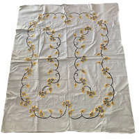 Vintage Hand Embroidered Tablecloth 48 x 58 Beige Yellow Floral Country