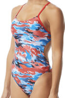 NWT TYR Synthesis Cutoutfit One Piece Swimsuit, Red/White/Blue, Size 30