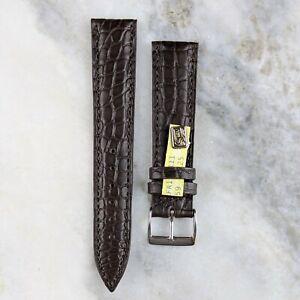Genuine Louisiana Alligator Leather Watch Strap - Dark Brown - 18mm