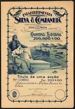 More details for portugal: estabelecimentos silva & companhia, one share of 100 escudos, lisbo...
