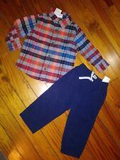 Nwt Gymboree Infant Boys Outfit Plaid Flannel Shirt Navy Pants Size 18-24 Months