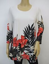 Off-white & Red 3/4 Flare Sleeved Floral Border Printed Tunic Top Sz XL