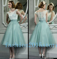 Vintage White Lace Tea length Bridesmaid Dresses A Line Prom Formal Party Dress