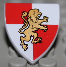 Lego Castle Shield Red + White Quarters w/ Gold Lion
