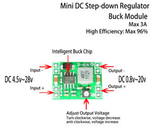 DC-DC 3A 3.3V 5V 6V 9V 12V Buck Step-down Converter Adjustable Voltage Regulator