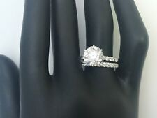 2.5 CARATS DIAMOND RING BAND SET 14 KT WHITE GOLD ROUND CUT EARTH MINED ACCENTS