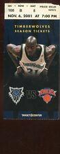 Ticket Basketball Minnesota 2001 - 02 11/6 New York Knicks Kevin Garnett