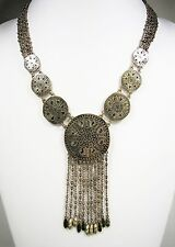 Lucky Brand Large Coin Medallion Gold Tone Statement Bib Necklace MSRP $44.50