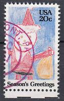 USA Briefmarke gestempelt 20c Season´s Greetings Unterrand Rundstempel / 460