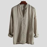 Sleeve Casual Blend Shirts Men's V-Neck M-2XL Shirt Tops Summer Loose Cool Long