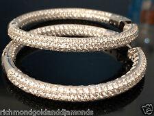 5ct CZ Cubic zirconia Inside Outside Hoops Earrings Sterling Silver Large Size