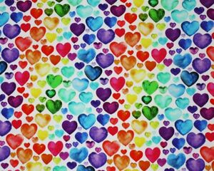 Little Johnny Rainbow Love Heart Cotton Spandex Jersey Fabric, Stretch Fabric