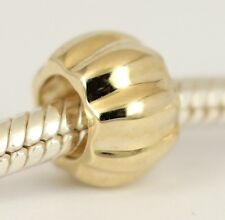 Genuine SOLID 9CT 9K GOLD Pumpkin Spacer BEAD Fits Charm Bracelet / Necklace AUS