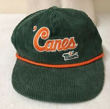 "5f6651c1101 Miami Hurricanes  Canes   Vintage Corduroy Trucker Hat Snap Back - Green  ""The U"