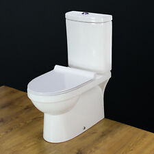 Toilet WC Close Coupled Cloakroom Ceramic Slimline Soft Close Seat Bathroom W178