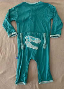NEW Kickee Pants Appliqué Coverall in Lagoon Bones (2015), size 3-6 months