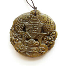 Old Jade Gemstone Happy Lucky Word Twin Fishes Amulet Pendant Talisman