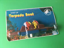 VINTAGE TORPEDO BOAT WITH SCUBA DIVERS TOY WIND-UP HONG KONG 80'S NEW