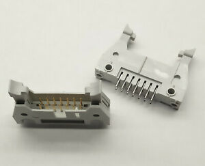 2 PCS. Right latched IDC box header male 14 pole 2.54mm