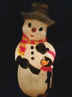 "TPI Christmas Snowman with Hat and Penguin Lighted Blow Mold 32"" Tall"