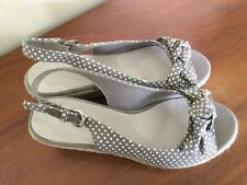 Boden  Grey/White Spotted Canvas Wedge Worn Size 38