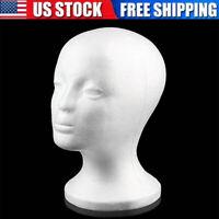 Female Styrofoam Foam Mannequin Head Model Glasses Hat Wig Display Stand Rack US
